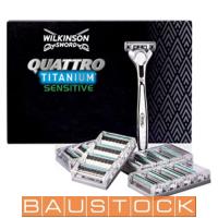 Wilkinson Sword Quattro Titanium Razor Blades, replaceable shaving razors 16 pc. + shaver, 7005099T