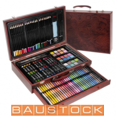 Drawing set for children in a wooden suitcase, 143 pc.