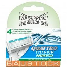 Wilkinson Sword Quattro Titanium Sensitive razor blades with aloe for men 8 pc.