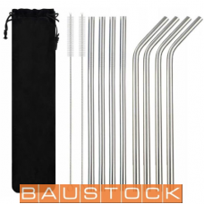 Stainless Steel Metal Drinking Straws 21.5cm, 8 pc. + Cleaning Brushes, 2 pc., set