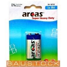 Arcas baterija krona 9V Block 6LF22, 1 gab.